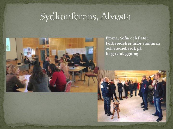 Sydkonferens, Alvesta Emma, Sofia och Peter. Förberedelser infor stämman och studiebesök på biogasanläggning