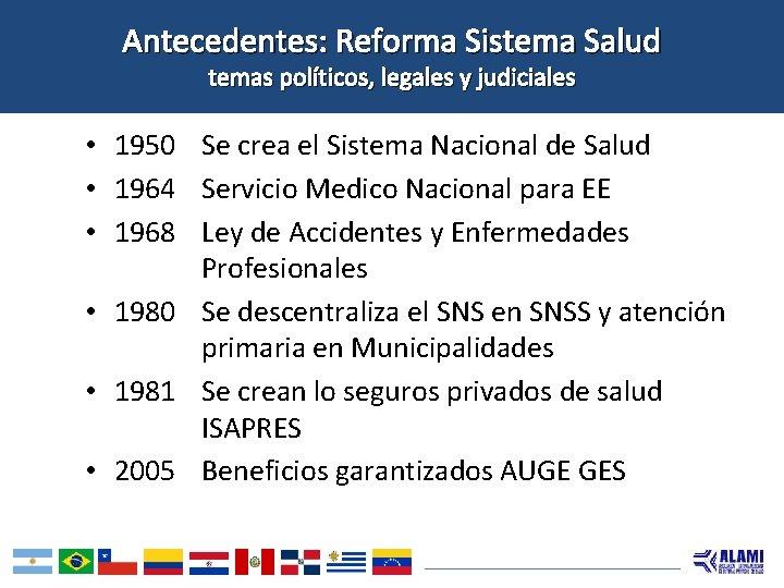 Antecedentes: Reforma Sistema Salud temas políticos, legales y judiciales • 1950 Se crea el