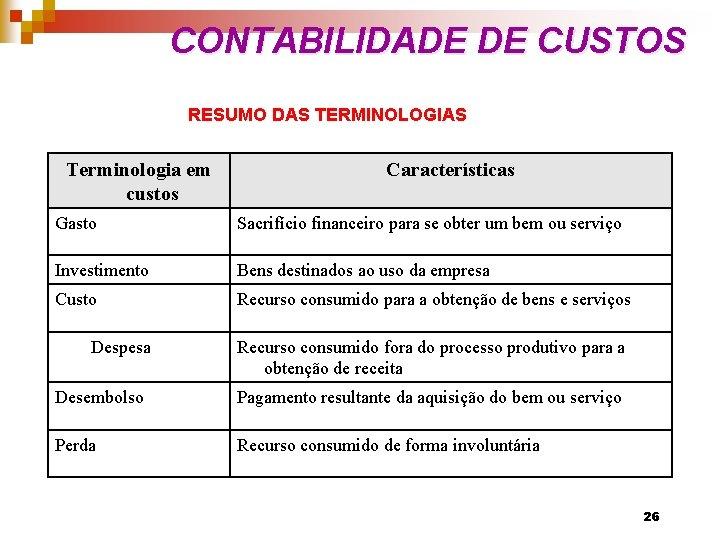 CONTABILIDADE DE CUSTOS RESUMO DAS TERMINOLOGIAS Terminologia em custos Características Gasto Sacrifício financeiro para