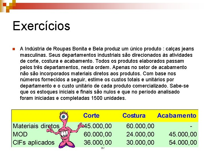 Exercícios n A Indústria de Roupas Bonita e Bela produz um único produto :