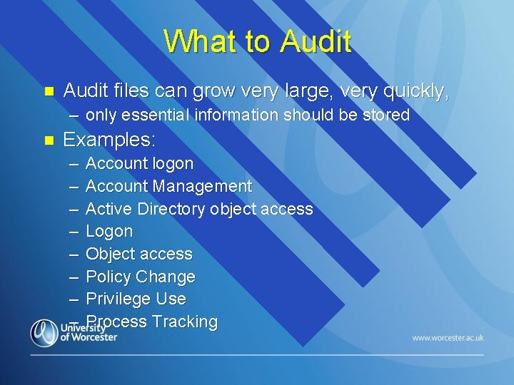 What to Audit n Audit files can grow very large, very quickly, – only