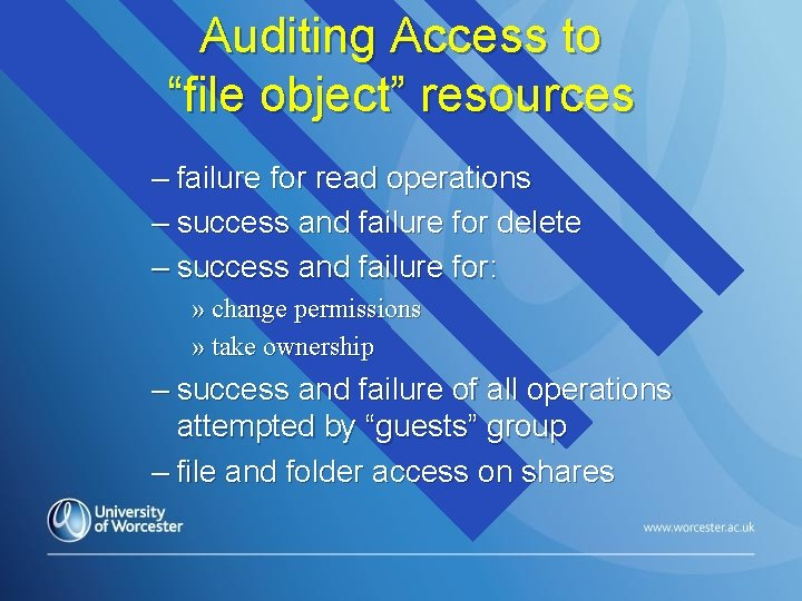 """Auditing Access to """"file object"""" resources – failure for read operations – success and"""