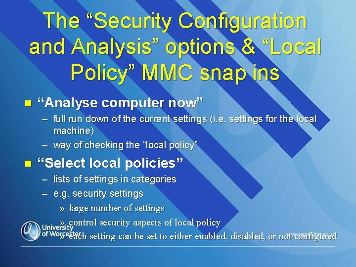 """The """"Security Configuration and Analysis"""" options & """"Local Policy"""" MMC snap ins n """"Analyse"""