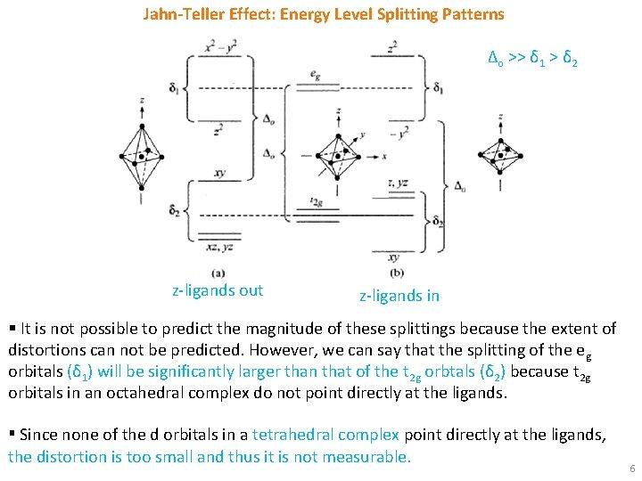 Jahn-Teller Effect: Energy Level Splitting Patterns Δo >> δ 1 > δ 2 z-ligands