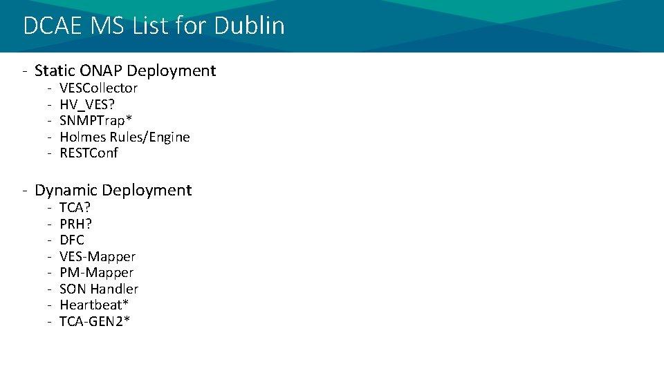 DCAE MS List for Dublin - Static ONAP Deployment - VESCollector HV_VES? SNMPTrap* Holmes