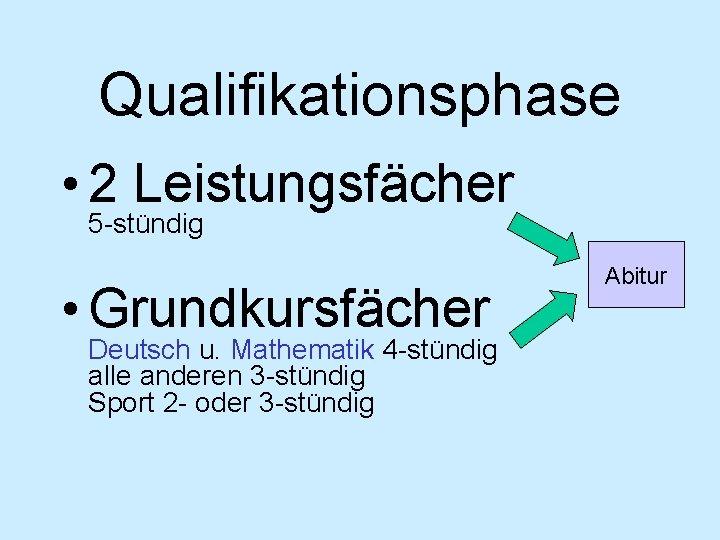 Qualifikationsphase • 2 Leistungsfächer 5 -stündig • Grundkursfächer Deutsch u. Mathematik 4 -stündig alle
