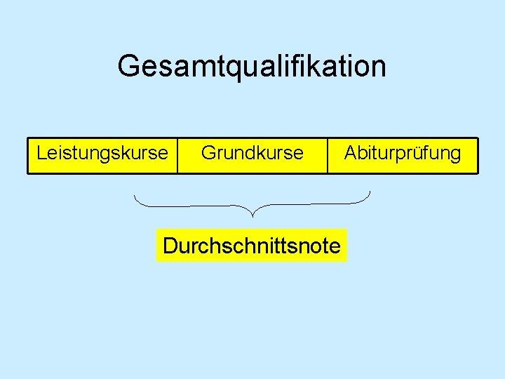 Gesamtqualifikation Leistungskurse Grundkurse Durchschnittsnote Abiturprüfung