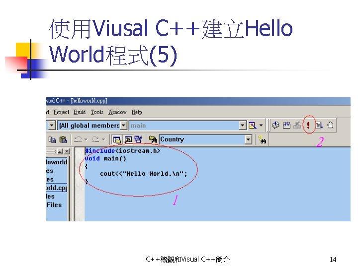 使用Viusal C++建立Hello World程式(5) C++概觀和Visual C++簡介 14