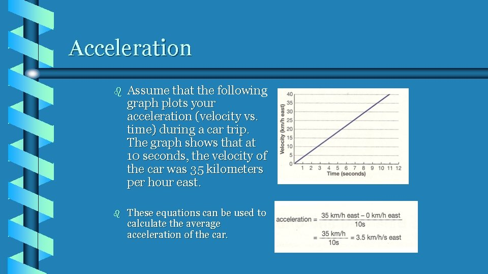 Acceleration b Assume that the following graph plots your acceleration (velocity vs. time) during