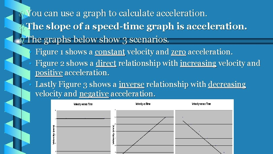 b You can use a graph to calculate acceleration. b The slope of a