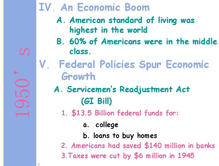 1950's IV. An Economic Boom A. American standard of living was highest in the