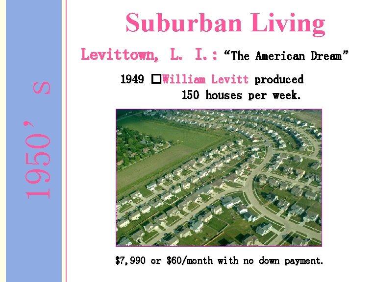 """Suburban Living 1950's Levittown, L. I. : """"The American Dream"""" 1949 �William Levitt produced"""