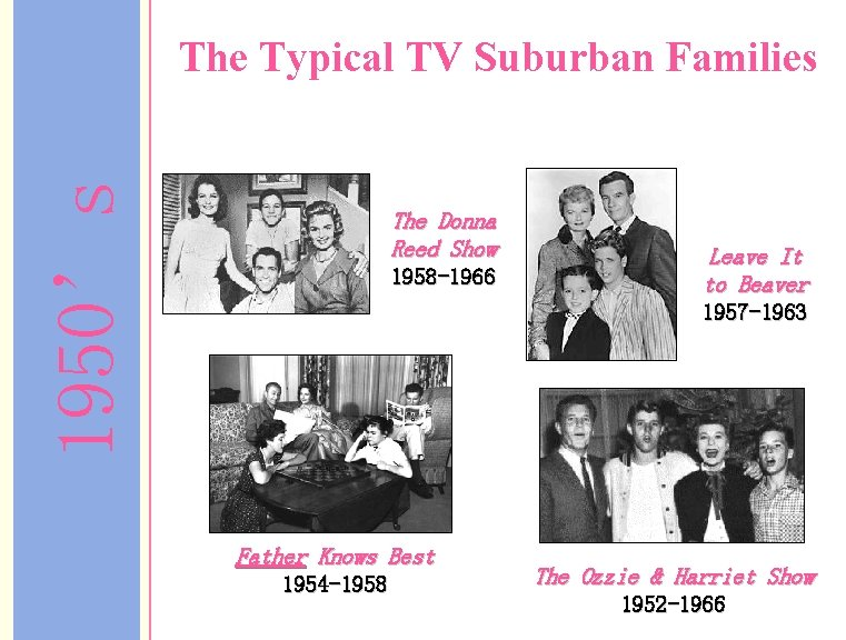 1950's The Typical TV Suburban Families The Donna Reed Show 1958 -1966 Leave It