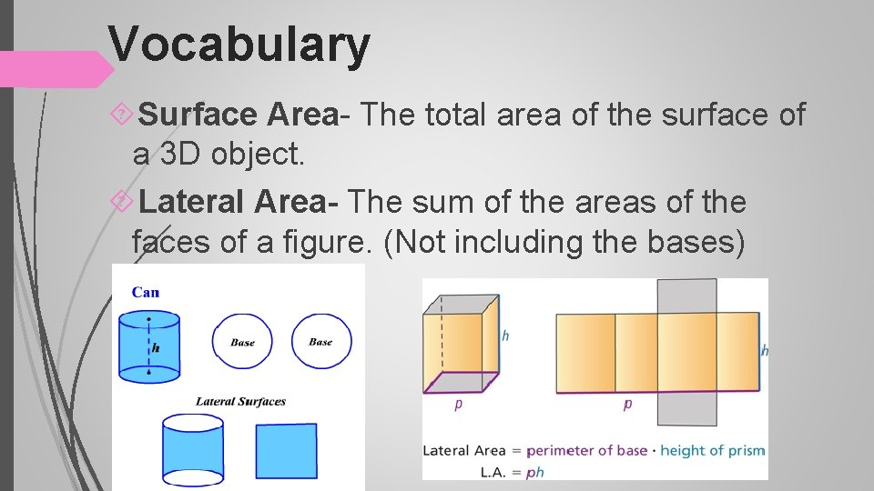 Vocabulary Surface Area- The total area of the surface of a 3 D object.