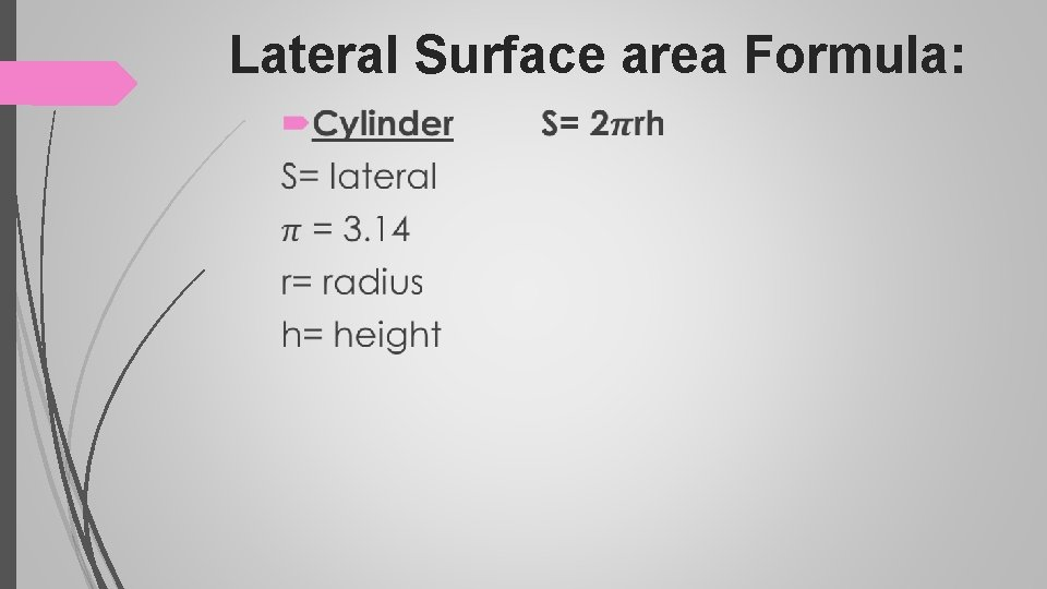 Lateral Surface area Formula: