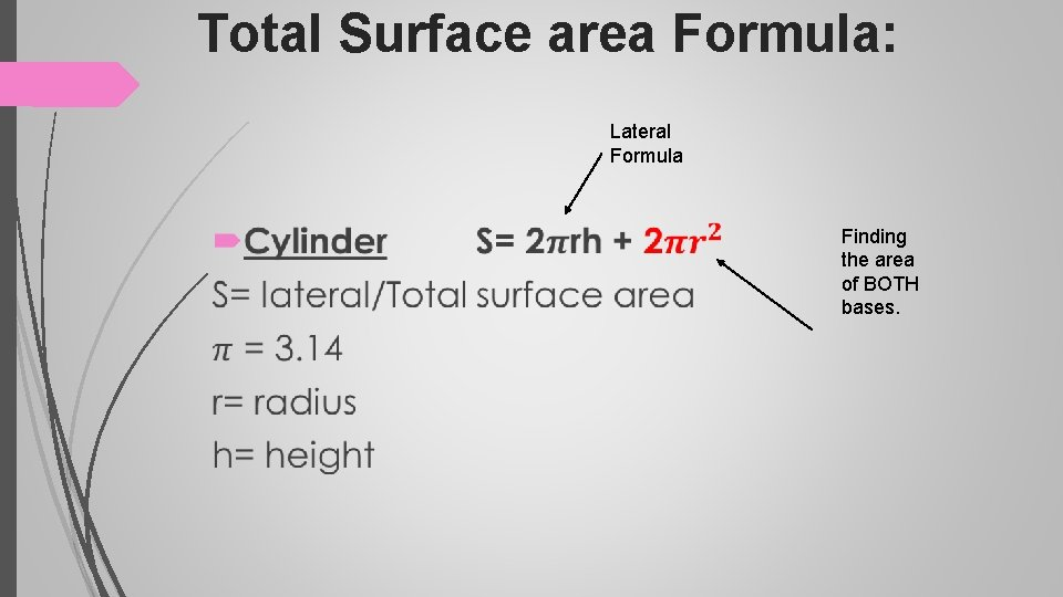 Total Surface area Formula: Lateral Formula Finding the area of BOTH bases.