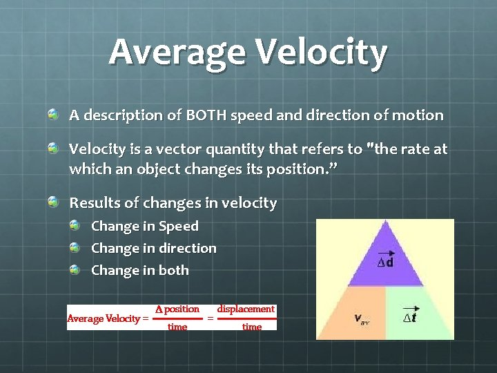 Average Velocity A description of BOTH speed and direction of motion Velocity is a