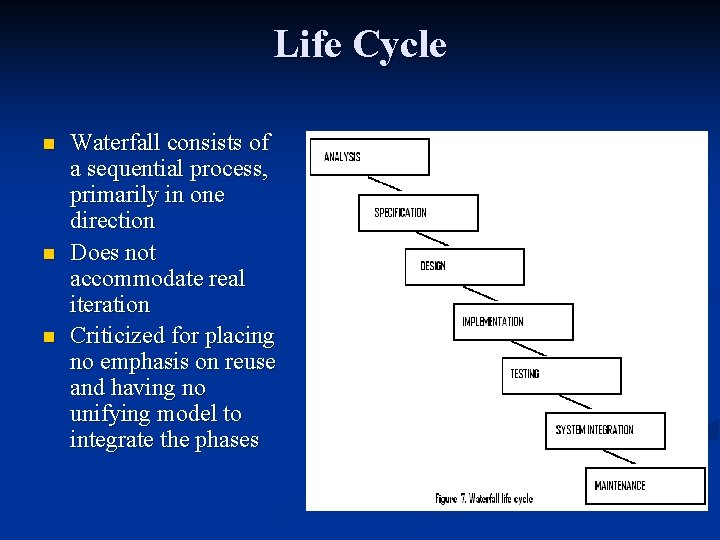 Life Cycle n n n Waterfall consists of a sequential process, primarily in one