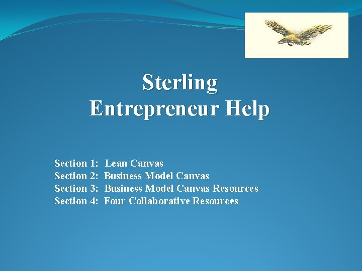 Sterling Entrepreneur Help Section 1: Section 2: Section 3: Section 4: Lean Canvas Business