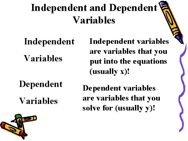 Independent and Dependent Variables Independent Variables Dependent Variables Independent variables are variables that you