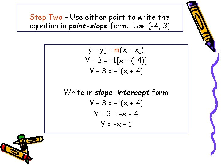 Step Two – Use either point to write the equation in point-slope form. Use
