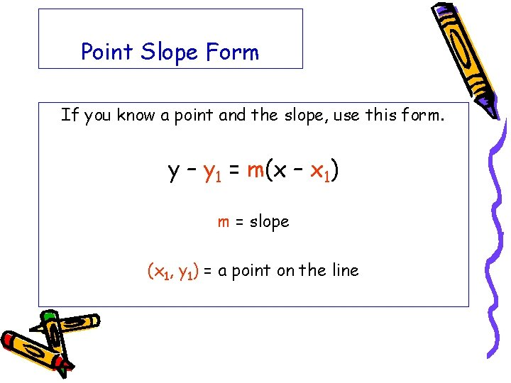 Point Slope Form If you know a point and the slope, use this form.