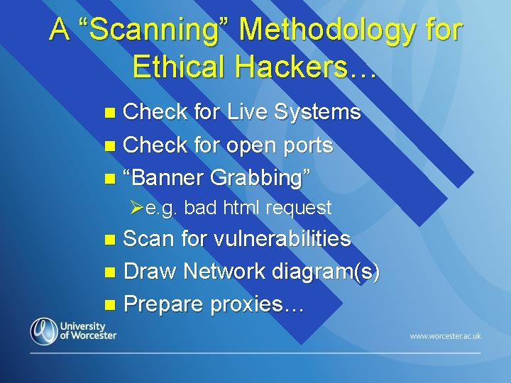 """A """"Scanning"""" Methodology for Ethical Hackers… Check for Live Systems n Check for open"""