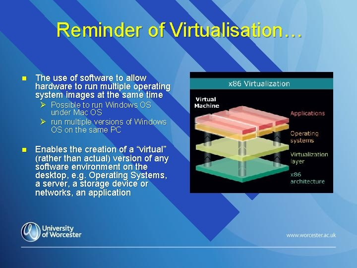 Reminder of Virtualisation… n The use of software to allow hardware to run multiple