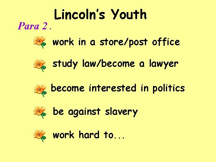 Para 2. Lincoln's Youth work in a store/post office study law/become a lawyer become