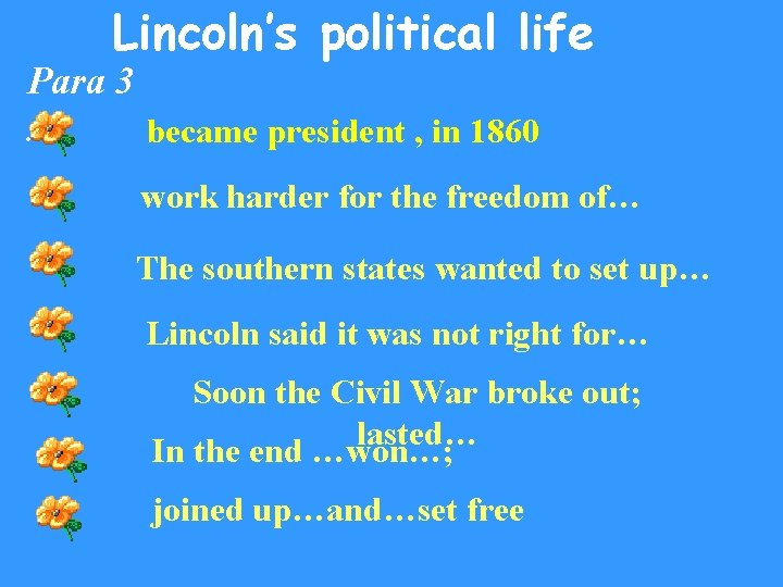 Lincoln's political life Para 3. became president , in 1860 work harder for the
