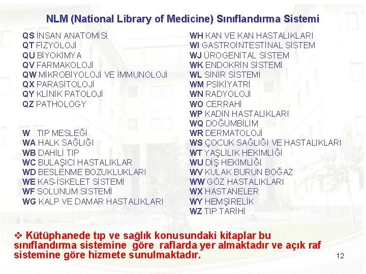 NLM (National Library of Medicine) Sınıflandırma Sistemi QS İNSAN ANATOMİSİ QT FİZYOLOJİ QU BİYOKİMYA