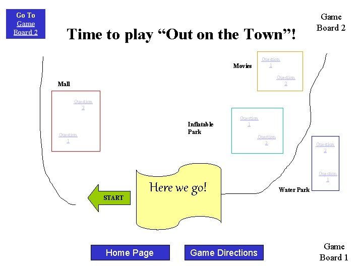 """Go To Game Board 2 Time to play """"Out on the Town""""! Game Board"""