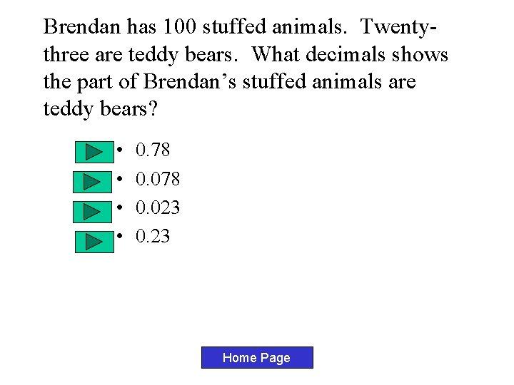 Brendan has 100 stuffed animals. Twentythree are teddy bears. What decimals shows the part