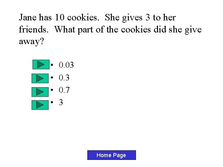 Jane has 10 cookies. She gives 3 to her friends. What part of the