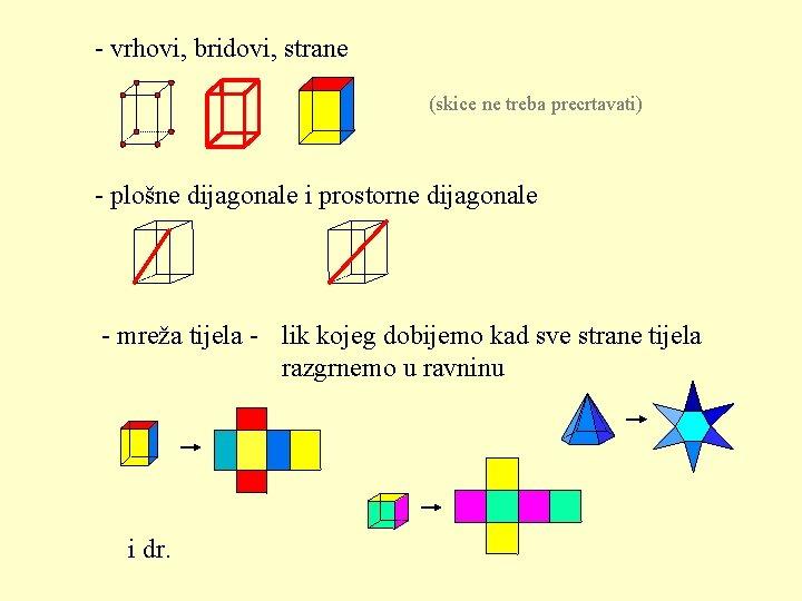 - vrhovi, bridovi, strane (skice ne treba precrtavati) - plošne dijagonale i prostorne dijagonale