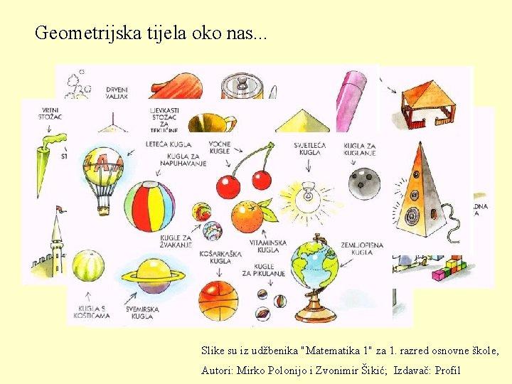 """Geometrijska tijela oko nas. . . Slike su iz udžbenika """"Matematika 1"""" za 1."""