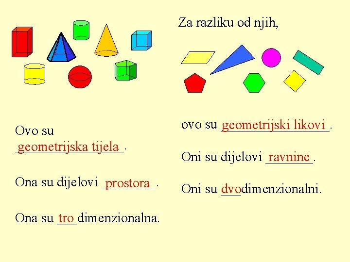 Za razliku od njih, Ovo su ________. geometrijska tijela ovo su ________. geometrijski likovi