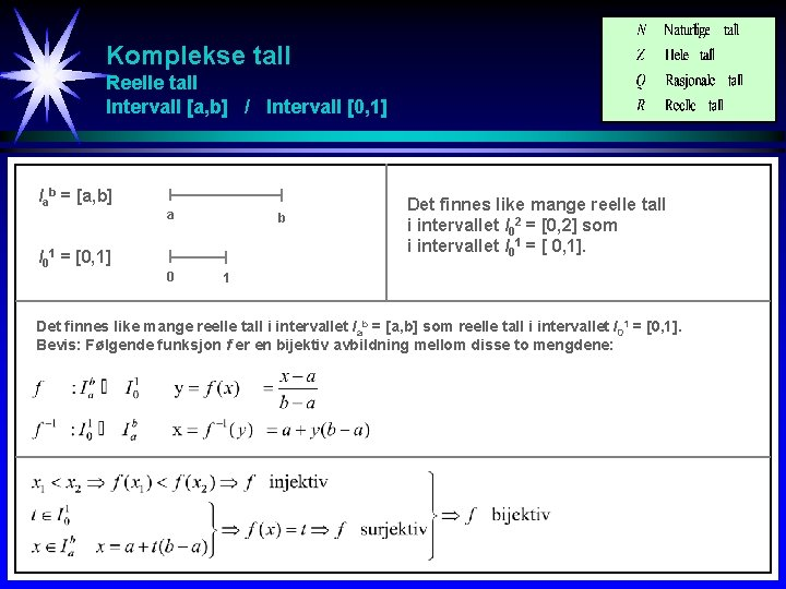 Komplekse tall Reelle tall Intervall [a, b] / Intervall [0, 1] Iab = [a,