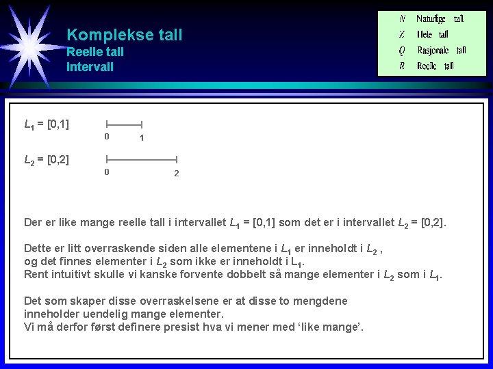 Komplekse tall Reelle tall Intervall L 1 = [0, 1] 0 L 2 =