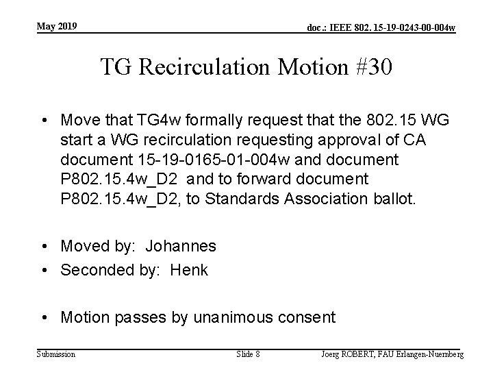 May 2019 doc. : IEEE 802. 15 -19 -0243 -00 -004 w TG Recirculation
