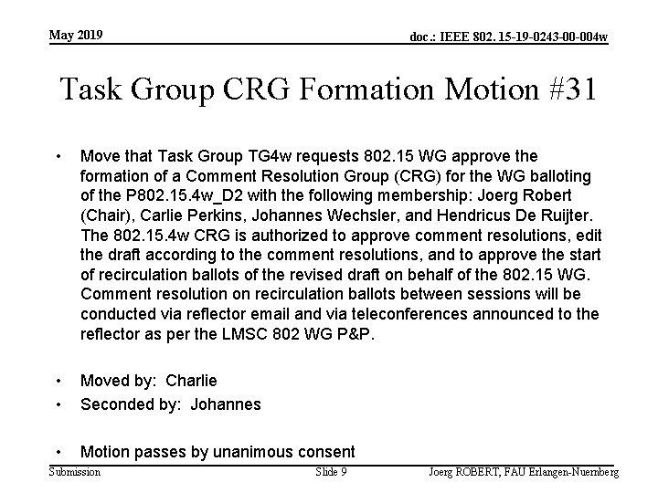May 2019 doc. : IEEE 802. 15 -19 -0243 -00 -004 w Task Group