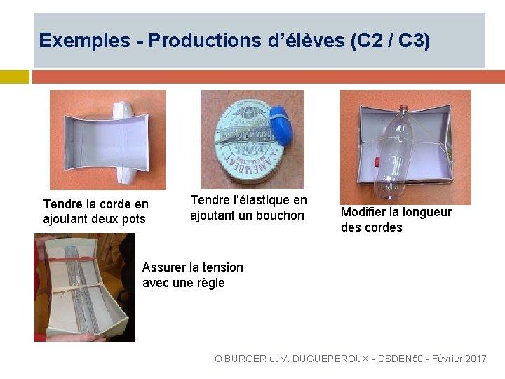 Exemples - Productions d'élèves (C 2 / C 3) Tendre la corde en ajoutant