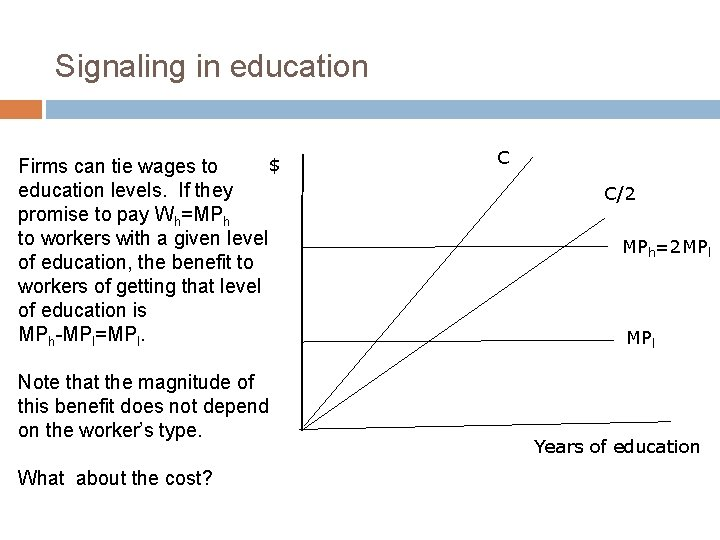 Signaling in education $ Firms can tie wages to education levels. If they promise