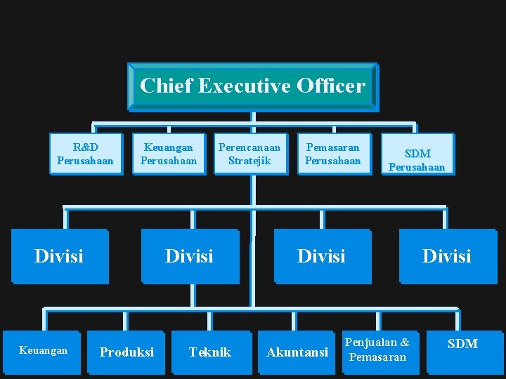 Chief Executive Officer R&D Perusahaan Keuangan Perusahaan Divisi Keuangan Perencanaan Stratejik Divisi Produksi Teknik