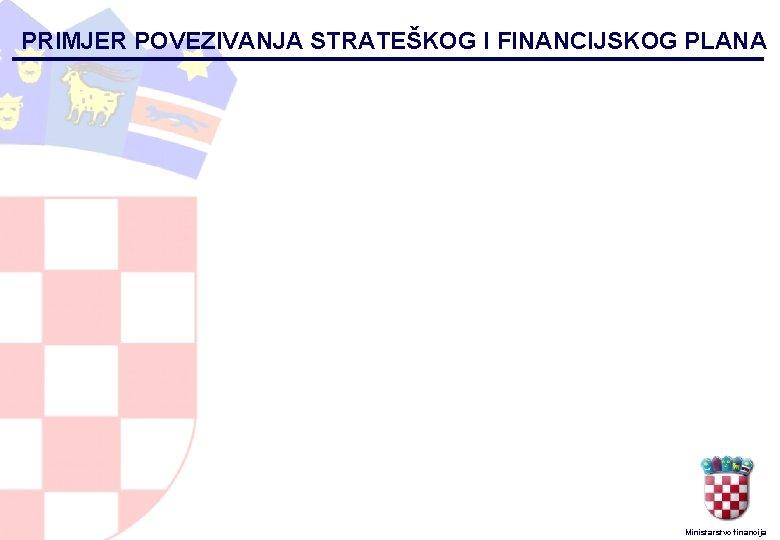 PRIMJER POVEZIVANJA STRATEŠKOG I FINANCIJSKOG PLANA Ministarstvo financija