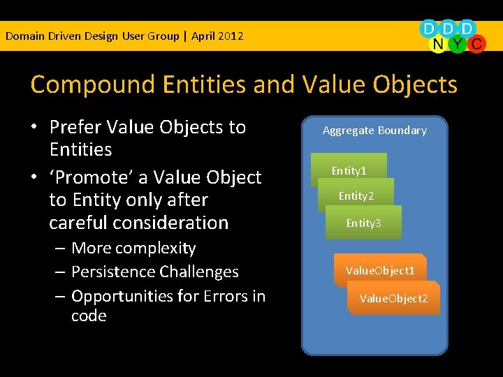 Domain Driven Design User Group | April 2012 Compound Entities and Value Objects •