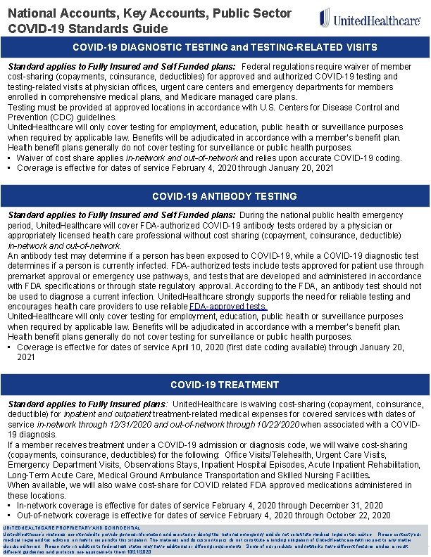 National Accounts, Key Accounts, Public Sector COVID-19 Standards Guide COVID-19 DIAGNOSTIC TESTING and TESTING-RELATED
