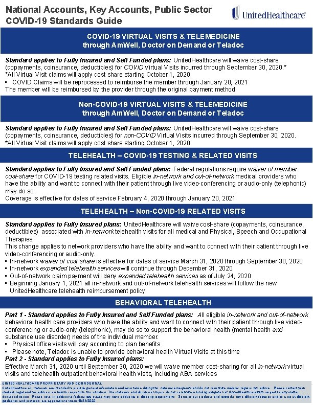 National Accounts, Key Accounts, Public Sector COVID-19 Standards Guide COVID-19 VIRTUAL VISITS & TELEMEDICINE