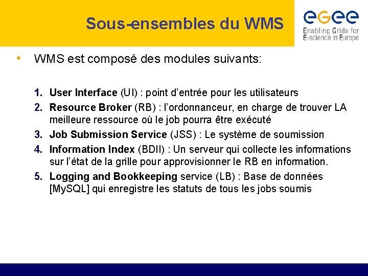 Sous-ensembles du WMS • WMS est composé des modules suivants: 1. User Interface (UI)