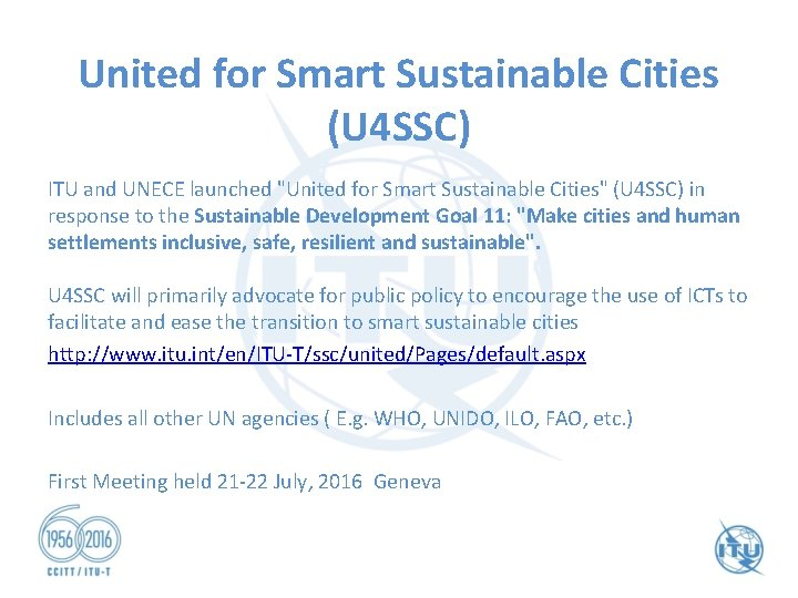 """United for Smart Sustainable Cities (U 4 SSC) ITU and UNECE launched """"United for"""